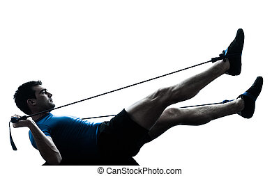 man exercising gymstick workout fitness posture silhouette