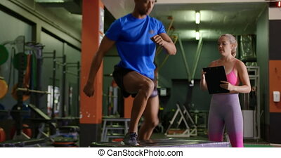 Man exercising in a gym