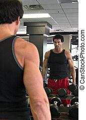 Man Exercising In Mirror