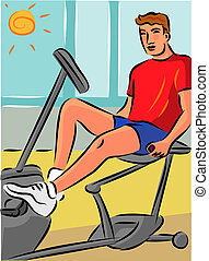 Man exercising on a recumbent bike to reduce strain on his...