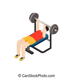 Man exercising on bench press icon, isometric 3d