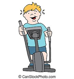 Man Exercising on Elliptical - An image of a man riding an...