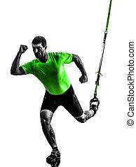 man exercising suspension training  trx silhouette