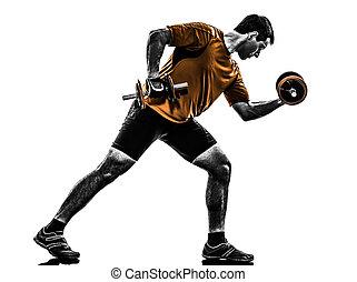 man exercising weight training silhouette