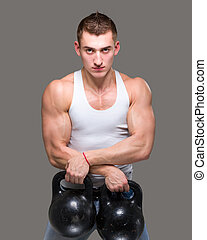 man exercising weight training workout fitness