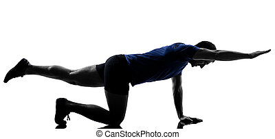man exercising workout fitness aerobics posture in ...