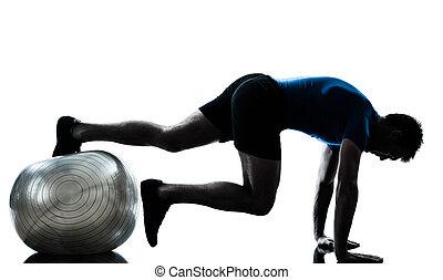 man exercising workout fitness ball posture