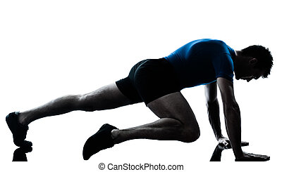 man exercising workout fitness posture - one caucasian man...