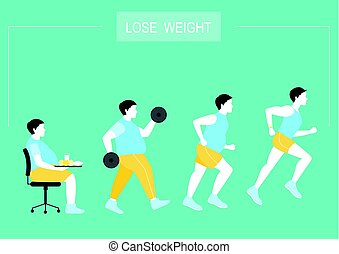 Man exists before and after the diet,healthy lifestyle,vector