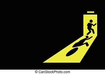 Man exit leaving black room