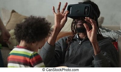 Man experiencing virtual reality with VR headset