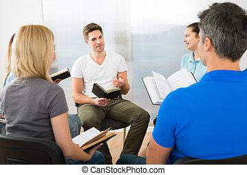Man Explaining Gospel - Man Explaining To His Friends From...
