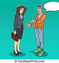 Man Explaining his New Idea to Businesswoman. Pop Art vector illustration