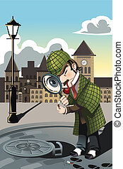 A vector illustration of a man exploring a manhole with a magnifying glass