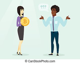 Man expressing his unawareness about bitcoin.