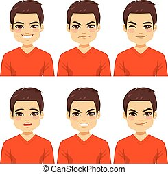 Man Expressions Collection - Attractive brown haired young...
