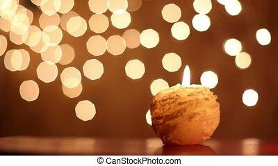 Man extinguished round yellow candle, rain of yellow...