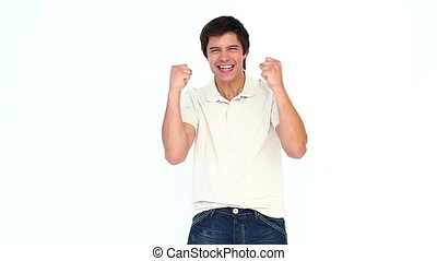 Man extremely happy gesturing and shouting against white...