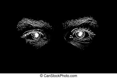 Abstract black and white eyes of the man on the black background