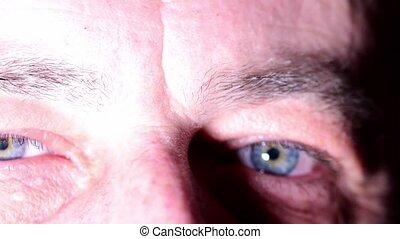 Man eyes. Blue eyes of man. Close-up.