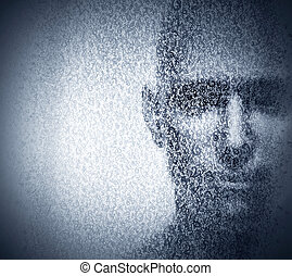 Man face blended with binary code digits. Concept of hacker...