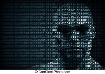 Man face blended with binary code digits. Concept of hacker, data protection etc.