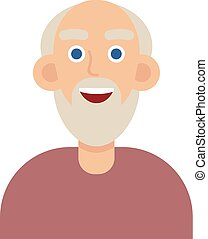 Man face emotive icon. Old man in glasses with mustache smiling flat