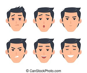 Man Face Emotive Vector Icon in Flat Style Set