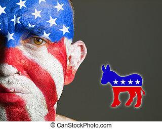 Man face flag USA, sad expression, democrat symbol. - Man...