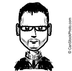 Man face in glasses hand drawn sketch illustration