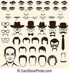 man face parts - vector men eye, mustache, glasses, hat,...