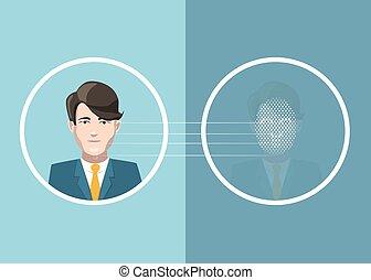 Man face scan identification, concept illustration