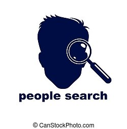 Man face silhouette biometric identification concept vector simple logo or icon, people search, unidentified person.