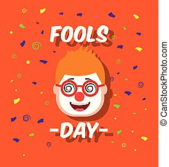 man face with funny clown mask glasses fools day