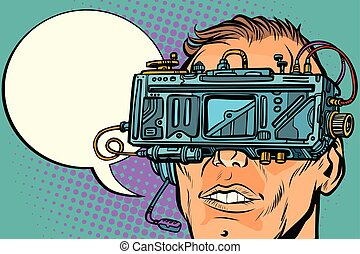 man face with glasses virtual reality. Pop art retro vector...