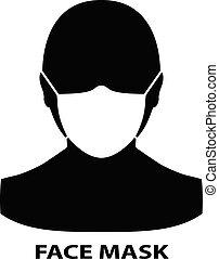 Man face with mask icon. Coronavirus 2019-nCoV