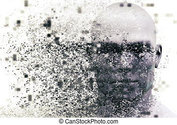 Man face with pixel dispersion effect. Concept of...