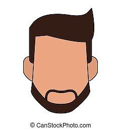 Man faceless head - Man with beard faceless head vector...