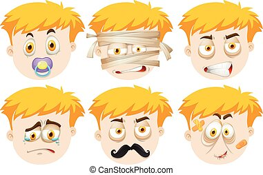 Man faces with different emotions