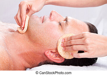 man facial massage