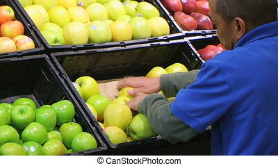 Man Facing Apples In Produce 02