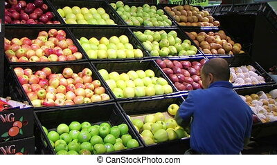 Man Facing Apples In Produce 03