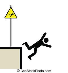 man falling - Warning hazard sign and signage man falling
