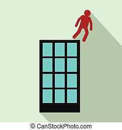 Man falling down of building icon, flat style