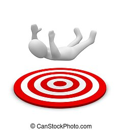 Man falling down to red target. 3d rendered illustration.