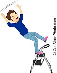 Man Falling Ladder - Young man falling from ladder having an...