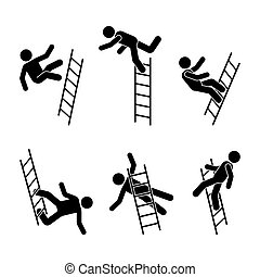 Man falling off a ladder stick figure pictogram
