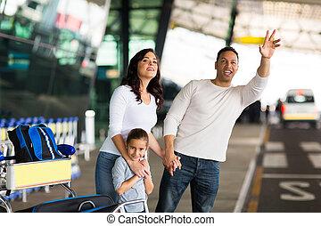 man, familj, hyllande taxi