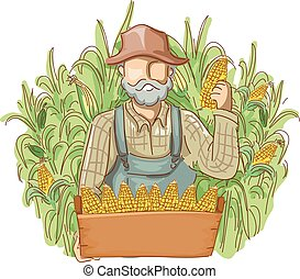 Man Farmer Cornfields Produce