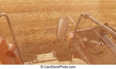 Man farmer driving combine harvesting on lifestyle the field...